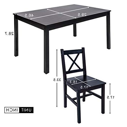 Merax Solid Dining Table with 4 Set of