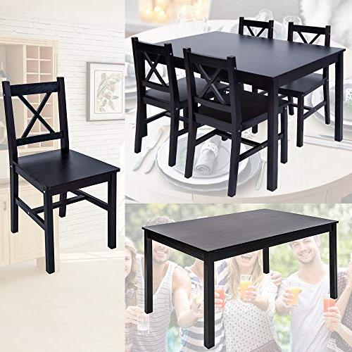 Merax Wood Dining Table Kitchen Set of