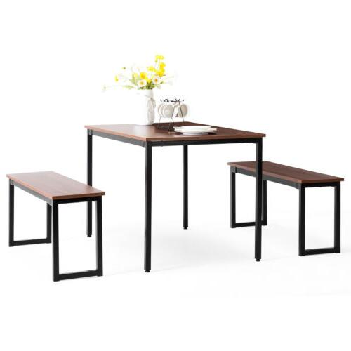 3 Dining Set 2 Chairs Kitchen Dining Nook Black