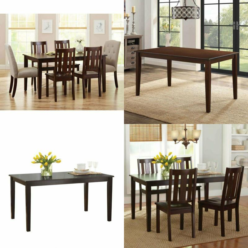 solid wood dining table rectangular 6 person