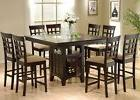 9PC Square Counter Height Dining Table Set With Glass Lazy S
