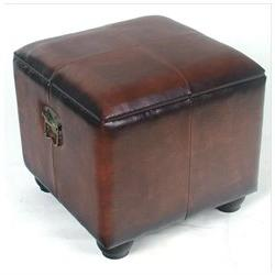 Square Faux Leather Ottoman with Lid