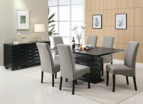 Coaster Home Furnishings Stanton Contemporary Dining Set With Table 6 Grey Chairs And Server In Black