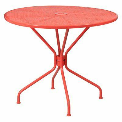 steel round patio dining table