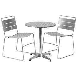 Table and 2 Stack Chair Set TLH-ALUM-24RD-HA1SIL2-GG
