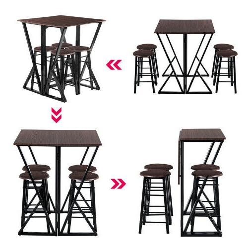 TOPMAX Set Pine Wood Dinette Chairs Bar