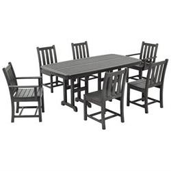 Traditional Garden 7 Piece Dining Set - Finish: Slate Grey