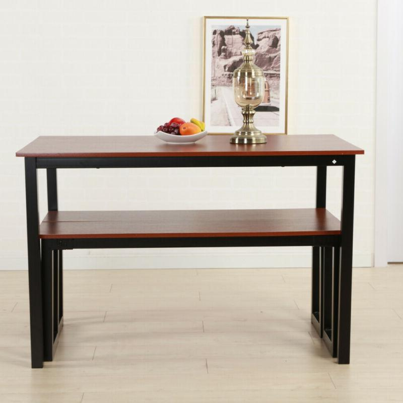 Simplistic Iron Frame Dining Table Teak Color Modern Square