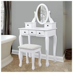Vanity Table Jewelry Makeup Desk Bench Drawer White Solid Wo