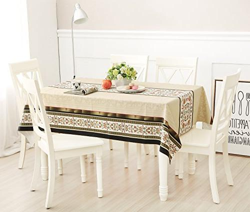 DUOFIRE Vinyl Tablecloth Rectangle Wipe Table Waterproof Stain Resistant Weight PVC Tablecloths for Outdoor Indoor Kitchen