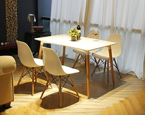 white armless side dining chair