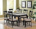 White Marble Black Dining Table Set Modern Transitional Styl