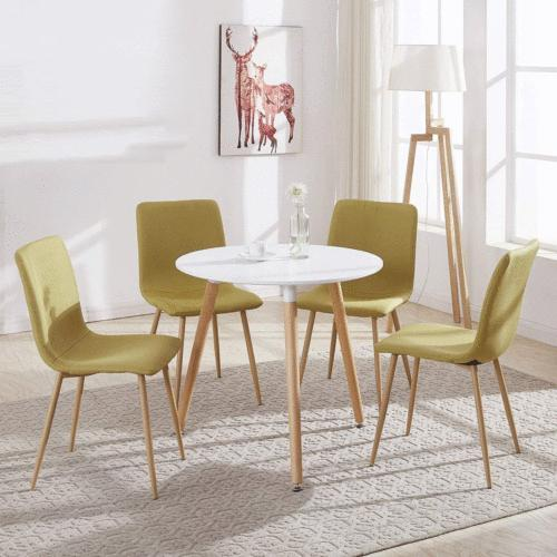 White Round Top Kitchen Dining 4 Wood Legs Table Office