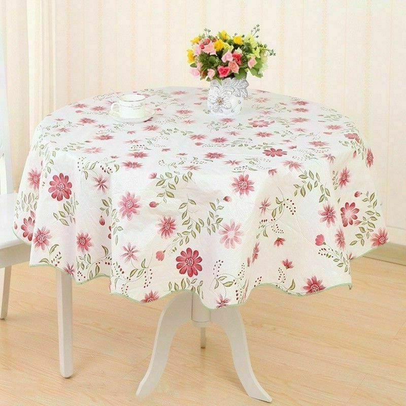Wipe Vinyl Floral Tablecloth Dining Cover