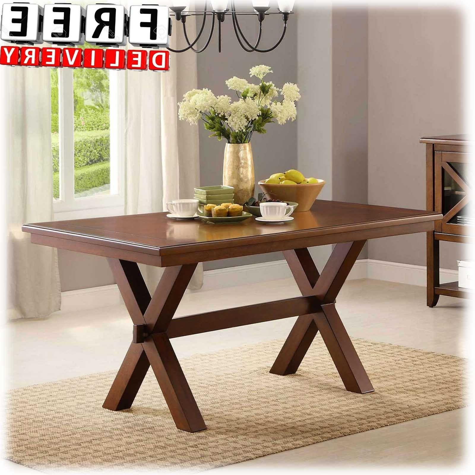 Wood Dining Table Rectangle Kitchen Solid Brown Home Office