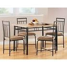 5 Piece Wood Metal Modern Dining Table Set Chairs Dinner Kit