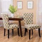 Yellow and Grey Print Fabric Dining Chair