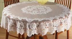 """Lace Tablecloth 60"""" Round White IN HAND Floral Rose Cover El"""