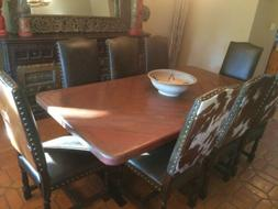 Large Copper Dining Table with Metal Base $450