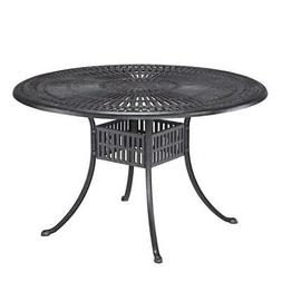 "Home Styles Largo 48"" Round Outdoor Dining Table, Charcoal F"
