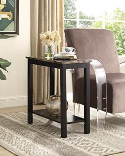 Roundhill Furniture Lediyana Faux Marble Top Side Table
