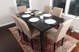 7 pc Light Brown Canvas Black Linen 6 Person Table and Chair