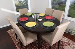 Light Canvas Brown Linen 7pc Oval Solid Top Dining Table Con
