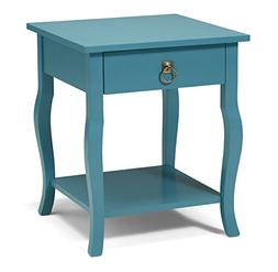 Kate and Laurel Lillian Wood Side Table Curved Legs with Dra