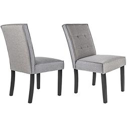 Merax Linear Upholstered Fabric Dining Chairs with Solid Woo