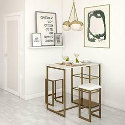 Dorel Living Tanner 3-Piece Brass Pub Set with Faux Marble T
