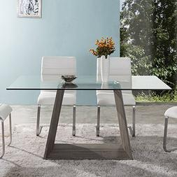 Armen Living LCBRDIGLTO Bravo Dining Table with Clear Glass
