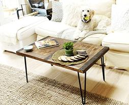 Made in America - Solid Reclaimed Wood Coffee Table With Met