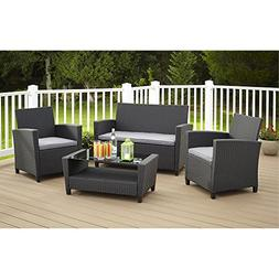 Cosco Products 4 Piece Malmo Resin Wicker Patio Set - Black