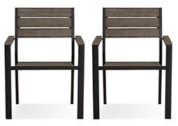 Mantega 2pk Faux Wood Patio Dining Chairs by Threshold