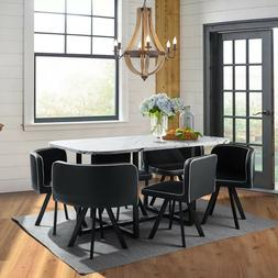 Marble 7 Piece Dining Table Set 6 Leather Chairs Kitchen Roo