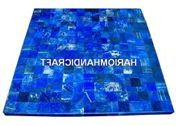 Marble Dining Side Table Lapis Lazuli Stone Inlay Handmade R