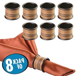 mDesign Napkin Rings for Home, Kitchen, Dining Room Table -