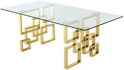 "Melina Modern Glass Top 78"" Dining Table w/Geometric Gold St"