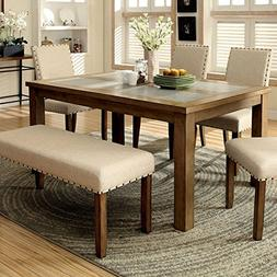 Melston Country Style Vintage Oak Finish 4-Piece Dining Tabl