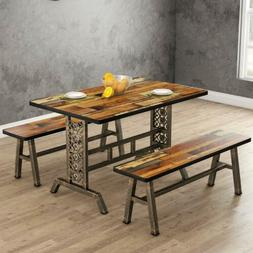 Metal Base Dining Table with Two Benches 3Pieces Dining Kitc