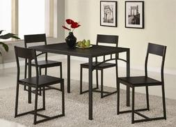5pc Metal Dining Table and Chairs Set in Deep Cappuccino Fin
