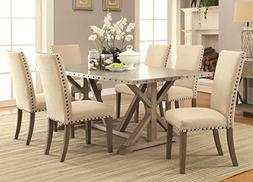 Janes Gallerie 7-piece Metal & Driftwood Trestle Dining Set