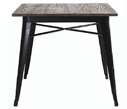VIVA HOME Metal Indoor-Outdoor Dining Table with Elm Wood To