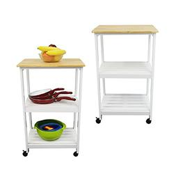 Houseables Microwave Cart, Kitchen Stands And Carts, White &