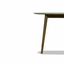 Mid-Century Modern Charlotte Brown Walnut Wood Round Dining