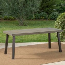 Mika Outdoor Finished Acacia Wood Dining Table with Metal Le