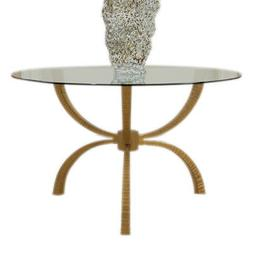 Minimalist Gold Iron Round Glass Dining Table | 6 Seater Tri