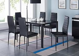 IDS Online 7 Pieces Modern Glass Dining Table Set Faxu Leath