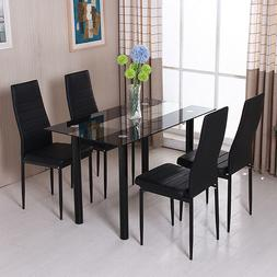 Modern 4Pcs Chairs Dining Table Set Glass Metal Kitchen Room