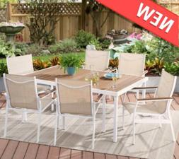 Modern 7-Piece Outdoor Patio Sling Mesh Dining Set